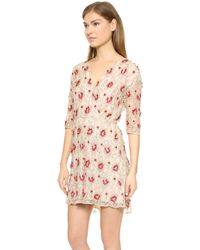 Alice + Olivia Alice  Olivia Arlie Cross Front High Low Dress - Nudered - Lyst