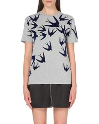 McQ by Alexander McQueen Swallow-Motif Cotton-Jersey T-Shirt - For Women gray - Lyst