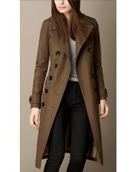 Burberry Military Coat with Fur Detail - Lyst