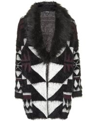 Topshop Graphic Faux Fur Trim Cardigan  Berry Red - Lyst