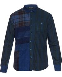 Longjourney - Long-sleeved Patchwork Plaid Shirt - Lyst