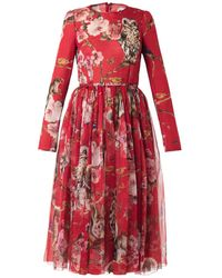 Dolce & Gabbana Floral and Animal-print Silk Dress - Lyst