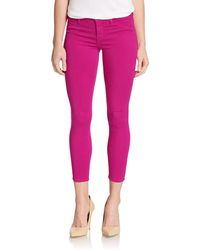 J Brand Mid-rise Luxe Sateen Cropped Jeans - Lyst
