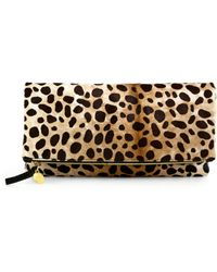 Clare Vivier Leopardprint Calf Hair Foldover Clutch - Lyst