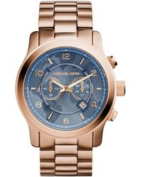 Michael Kors Watch Hunger Stop Oversized Runway Rose Gold-tone Stainless Steel Watch - Lyst