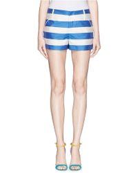 Alice + Olivia Rugby Stripe Cady Shorts blue - Lyst