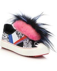 Fendi | Flynn Mixed-fur Mohawk & Leather Sneakers | Lyst