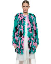 J. Mendel Pieced Fur Coat - Blue Print - Lyst