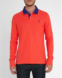 Vicomte A.   Fuchsia Ls Checked Collar Blue Contrast Polo Shirt   Lyst