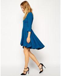 Asos Skater Dress With Full Dipped Hem Skirt And 3/4 Sleeve - Lyst