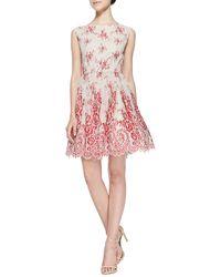 Alice + Olivia Fila Lace-overlay Full-skirt Dress - Lyst