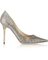 Jimmy Choo Abel Glitter-Finished Satin Pumps - Lyst