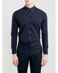 Topman Selected Homme Navy Long Sleeve Globe Shirt - Lyst