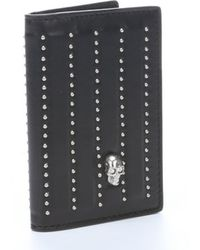 Alexander McQueen Black Leather Studded Bifold Wallet - Lyst