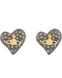 Vivienne Westwood Tiny Diamanté Heart Stud Earrings - Lyst