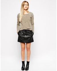 American Vintage Round Neck Long Sleeve Sweatshirt with Panelled Shoulder Detail - Lyst