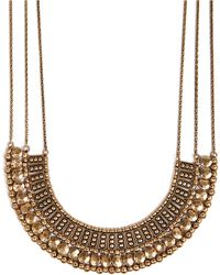 Lucky Brand Goldtone Textured Bead Collar Necklace - Lyst