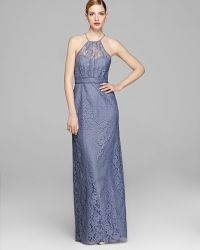 Amsale - Gown Sleeveless High Neck Lace - Lyst
