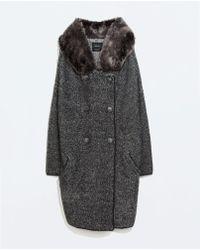 Zara 3/4 Length Coat With Fur Hood - Lyst