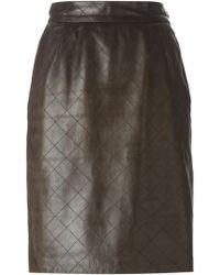Yves Saint Laurent Vintage Stitched Leather Skirt - Lyst