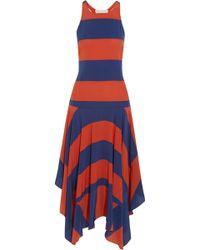 Stella McCartney Asymmetric Striped Silk Dress - Lyst