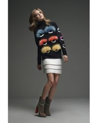 Fendi Bugs Statement Wool Pullover With Fur multicolor - Lyst