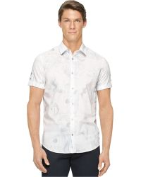 Calvin Klein Marbled-Print Shirt - Lyst