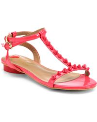 Love Moschino Studded Patent Leather Tstrap Sandals - Lyst