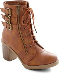 ModCloth Buckle Downtown Bootie in Whiskey - Lyst