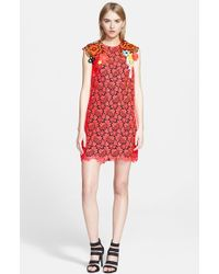 Christopher Kane Floral Applique Lace Shift Dress - Lyst