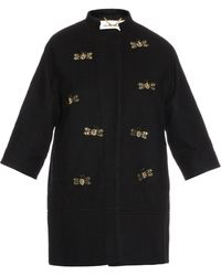 MUVEIL - Embellished Wool-blend Coat - Lyst