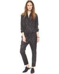 Maison Scotch - Long Sleeve Jumpsuit - Black - Lyst