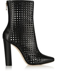 Balmain Laser-cut Leather Ankle Boots - Lyst