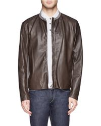 Armani Jersey Leather Bomber Jacket - Lyst