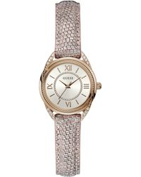 Guess - Ladies Rose Gold Small Analogue Leather Strap Watch - Lyst