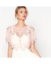 Jenny Packham - Pink Bead Embellished Scalloped Shrug - Lyst