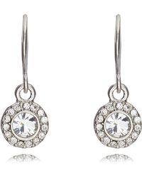 Pilgrim - Silver Circle Diamante Drop Earrings - Lyst