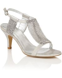 Lotus - Silver Diamante 'aspey' High Heel T-bar Sandals - Lyst
