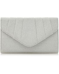 Roland Cartier - Silver Beverly' Diamante Pleat Detail Clutch Bag - Lyst
