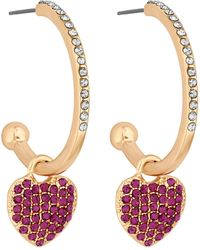 Lipsy - Crystal Pave Heart Hoop Earrings - Lyst