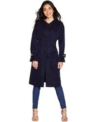 Yumi' - Navy Gathered Ruch Trench Coat - Lyst