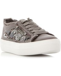 Steve Madden - Grey Satin 'greed' Flatform Lace Up Trainers - Lyst