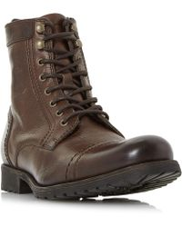 Dune - Brown 'cowell' Toe Cap Lace Up Worker Boots - Lyst