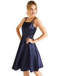 Yumi' - Navy Flower Embellished Satin 'arlina' Party Dress - Lyst