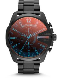DIESEL - Men's Chronograph Iridescent Crystal Mega Chief Black Ion-plated Stainless Steel Bracelet Watch 59x51mm Dz4318 - Lyst
