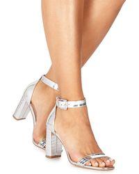 Faith - Silver 'dorita' High Block Heel Ankle Strap Sandals - Lyst