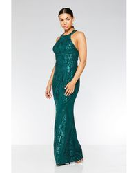 Quiz - Olivia's Bottle Green Sequin High Neck Fishtail Maxi Dress - Lyst