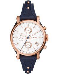 Fossil - Ladies Rose Gold 'original Boyfriend' Blue Leather Strap Watch Es3838 - Lyst