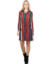 Izabel London - Red Stripe Button Through Shirt Dress - Lyst