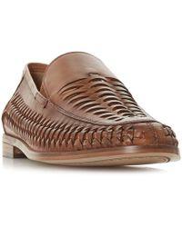 Bertie - Tan 'beachballs' Woven Slipper Cut Loafers - Lyst